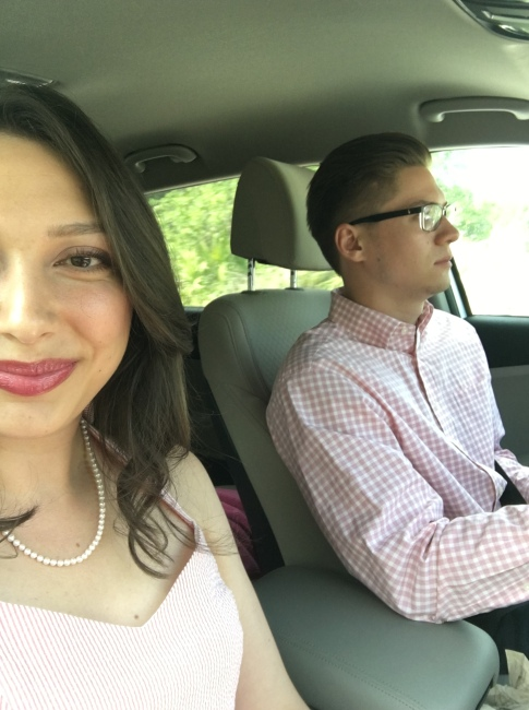 Kev + I heading to the wedding!