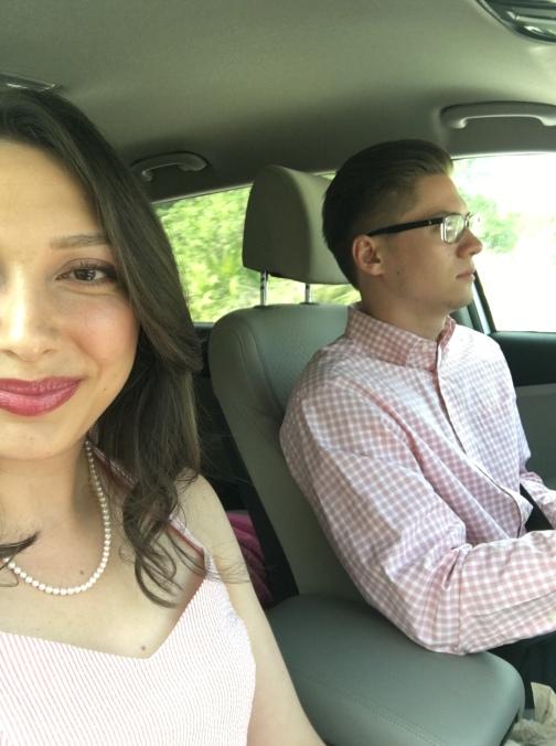 Kev + I heading to the wedding!